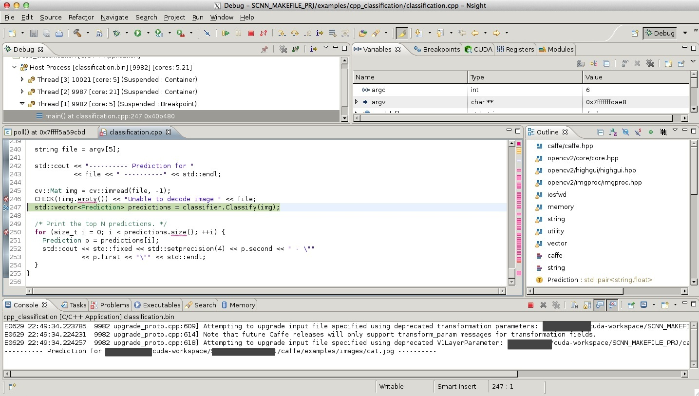 Debug Caffe in Eclipse Nsight